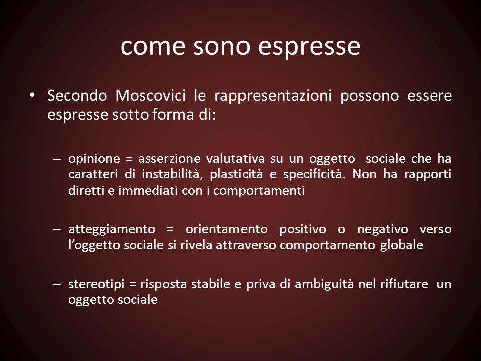 come sono espresse Secondo Moscovici le rappresentazioni possono essere espresse sotto forma di: – opinione = asserzione valutativa su un oggetto soci