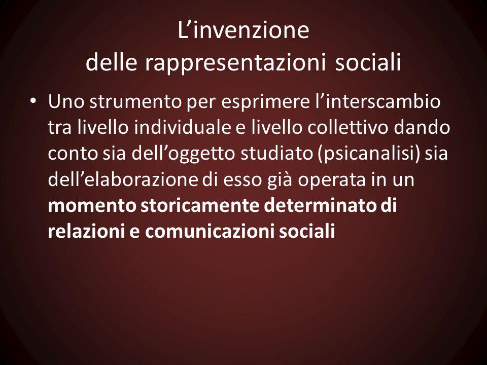 L'invenzione delle rappresentazioni sociali Uno strumento per esprimere l'interscambio tra livello individuale e livello collettivo dando conto sia de