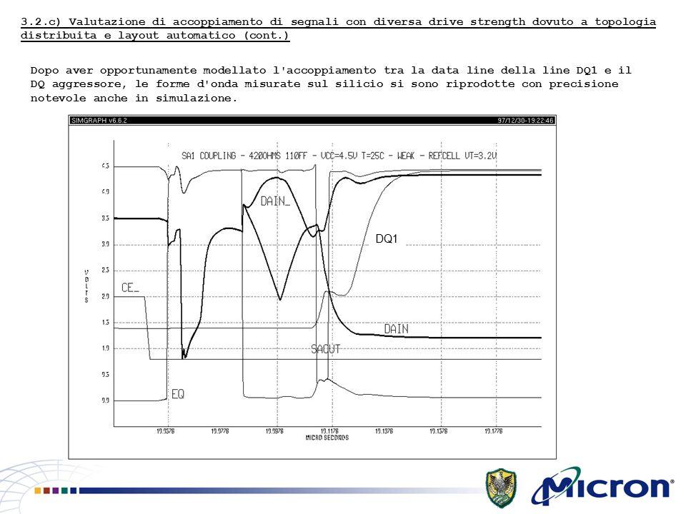 3.2.c) Valutazione di accoppiamento di segnali con diversa drive strength dovuto a topologia distribuita e layout automatico (cont.) Dopo aver opportunamente modellato l accoppiamento tra la data line della line DQ1 e il DQ aggressore, le forme d onda misurate sul silicio si sono riprodotte con precisione notevole anche in simulazione.