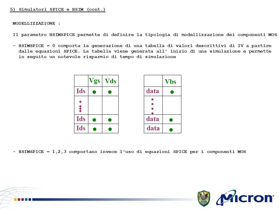 MODELLIZZAZIONE : Il parametro HSIMSPICE permette di definire la tipologia di modellizzazione dei componenti MOS - HSIMSPICE = 0 comporta la generazione di una tabella di valori descrittivi di IV a partire dalle equazioni SPICE.