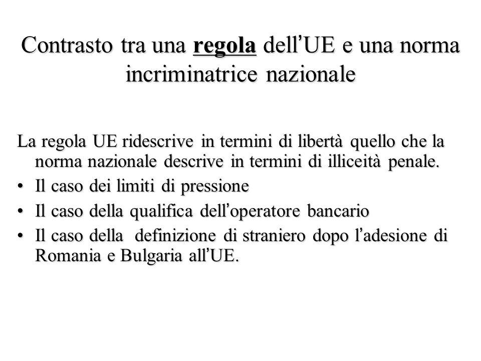 Contrasto tra una regola dell'UE e una norma incriminatrice nazionale La regola UE ridescrive in termini di libertà quello che la norma nazionale desc