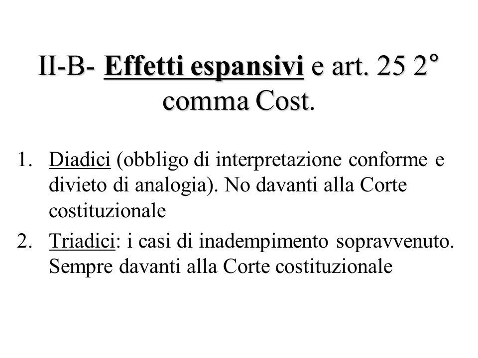 II-B- Effetti espansivi e art. 25 2° comma Cost II-B- Effetti espansivi e art. 25 2° comma Cost. 1.Diadici (obbligo di interpretazione conforme e divi