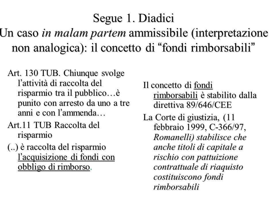 """Segue 1. Diadici Un caso in malam partem ammissibile (interpretazione non analogica): il concetto di """"fondi rimborsabili"""" Art. 130 TUB. Chiunque svolg"""