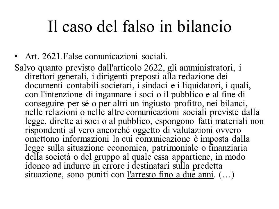 Il caso del falso in bilancio Art. 2621.False comunicazioni sociali. Salvo quanto previsto dall'articolo 2622, gli amministratori, i direttori general