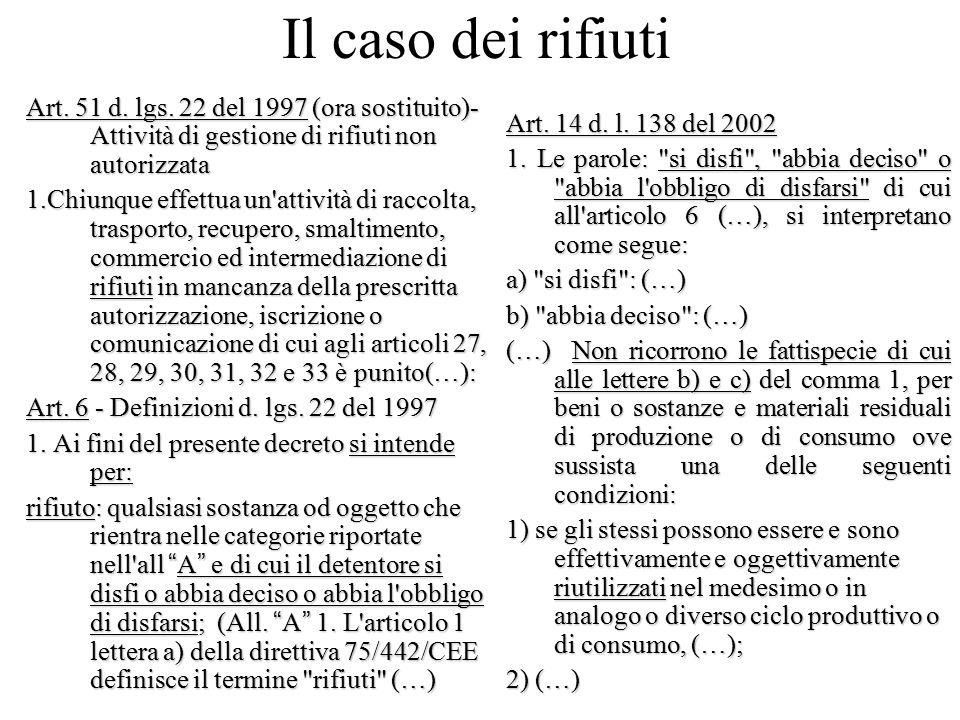 Il caso dei rifiuti Art. 51 d. lgs. 22 del 1997 (ora sostituito)- Attività di gestione di rifiuti non autorizzata 1.Chiunque effettua un'attività di r
