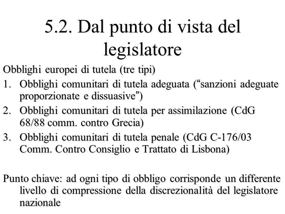 """5.2. Dal punto di vista del legislatore Obblighi europei di tutela (tre tipi) 1.Obblighi comunitari di tutela adeguata (""""sanzioni adeguate proporziona"""