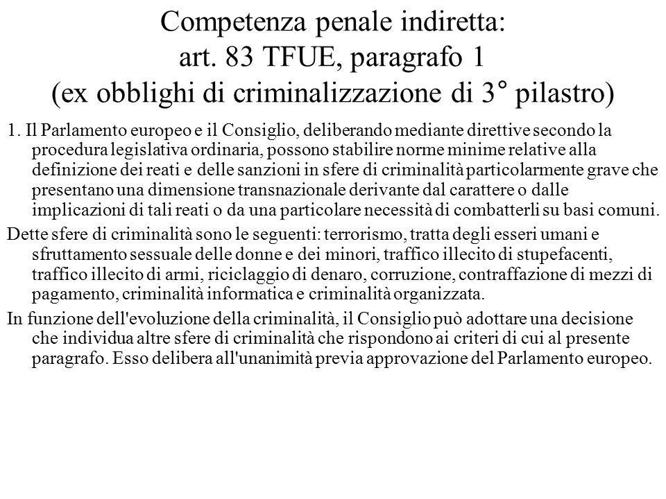 Competenza penale indiretta: art. 83 TFUE, paragrafo 1 (ex obblighi di criminalizzazione di 3° pilastro) 1. Il Parlamento europeo e il Consiglio, deli