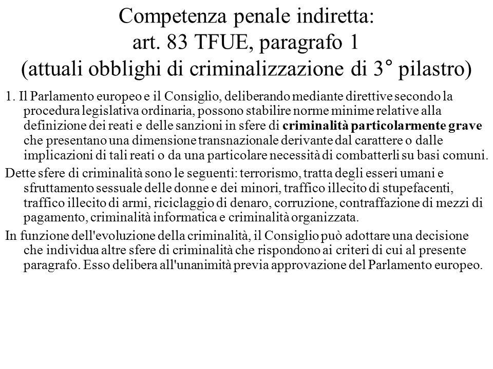 Competenza penale indiretta: art. 83 TFUE, paragrafo 1 (attuali obblighi di criminalizzazione di 3° pilastro) 1. Il Parlamento europeo e il Consiglio,