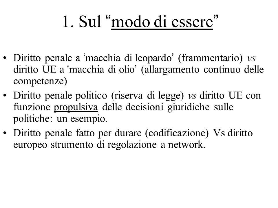 """1. Sul """"modo di essere"""" Diritto penale a 'macchia di leopardo' (frammentario) vs diritto UE a 'macchia di olio' (allargamento continuo delle competenz"""