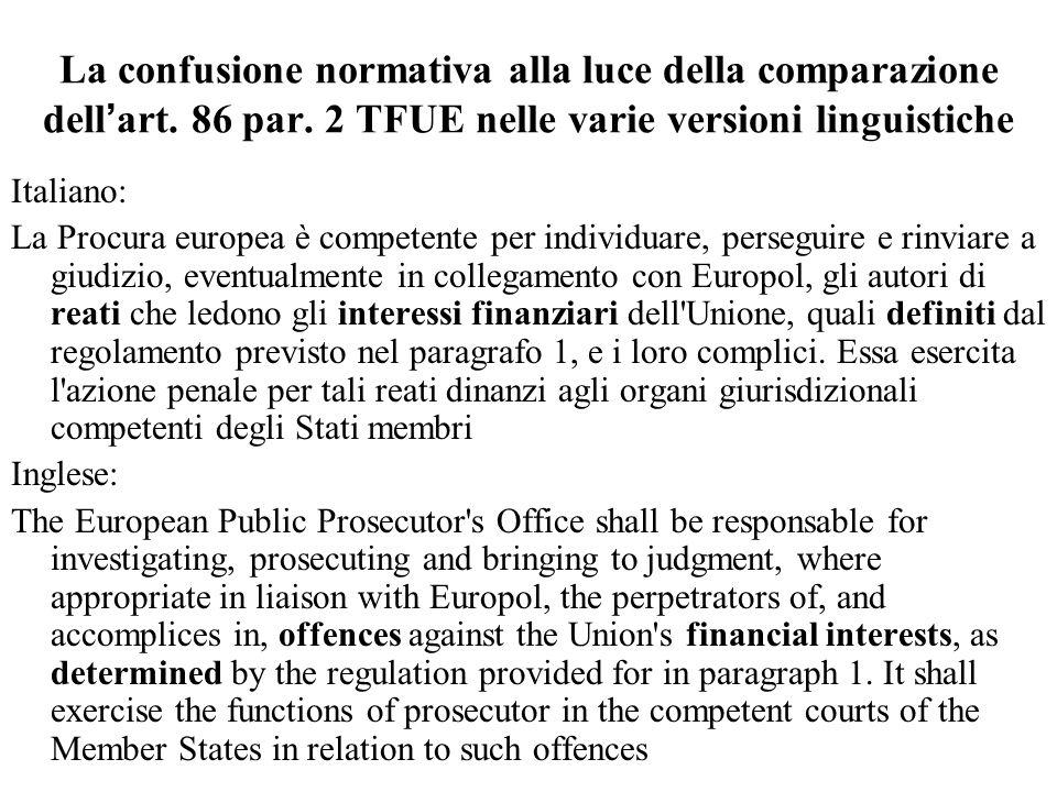 La confusione normativa alla luce della comparazione dell'art. 86 par. 2 TFUE nelle varie versioni linguistiche Italiano: La Procura europea è compete