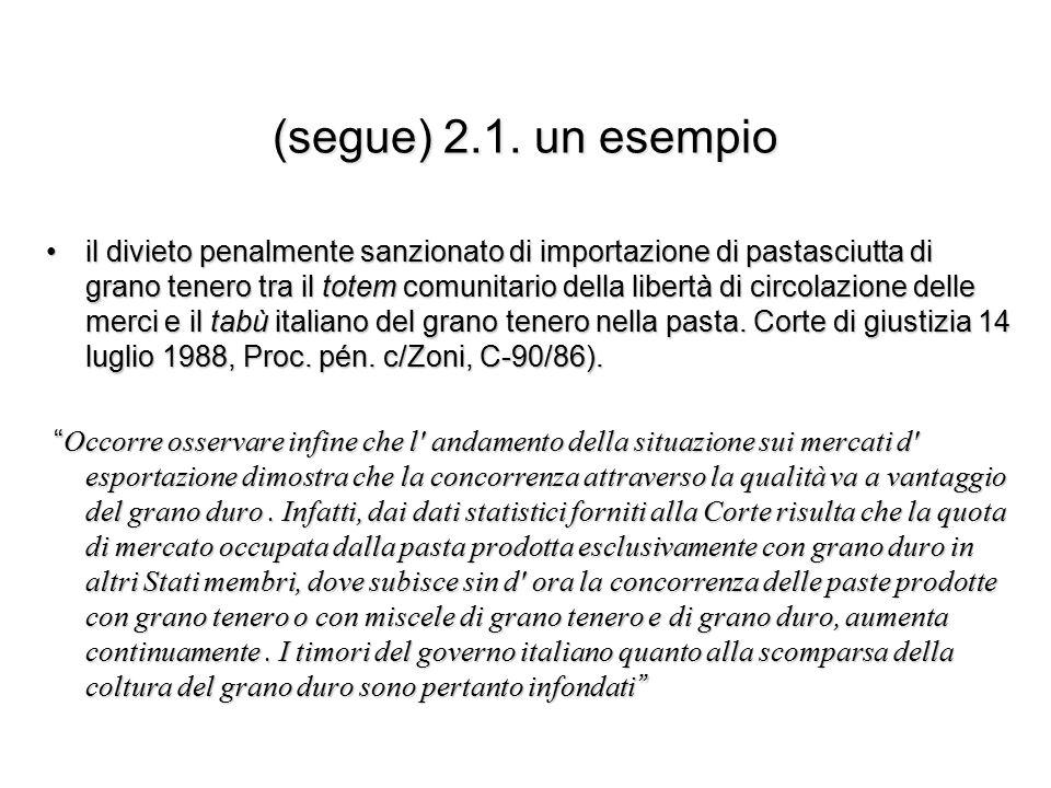 (segue) 2.1. un esempio il divieto penalmente sanzionato di importazione di pastasciutta di grano tenero tra il totem comunitario della libertà di cir