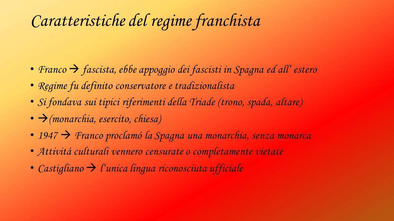 Caratteristiche del regime franchista Franco  fascista, ebbe appoggio dei fascisti in Spagna ed all' estero Regime fu definito conservatore e tradizi