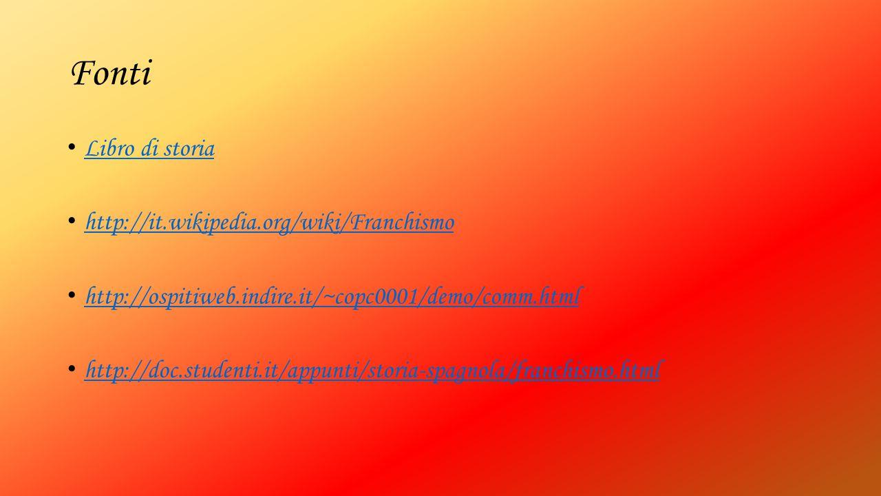Fonti Libro di storia http://it.wikipedia.org/wiki/Franchismo http://ospitiweb.indire.it/~copc0001/demo/comm.html http://doc.studenti.it/appunti/stori