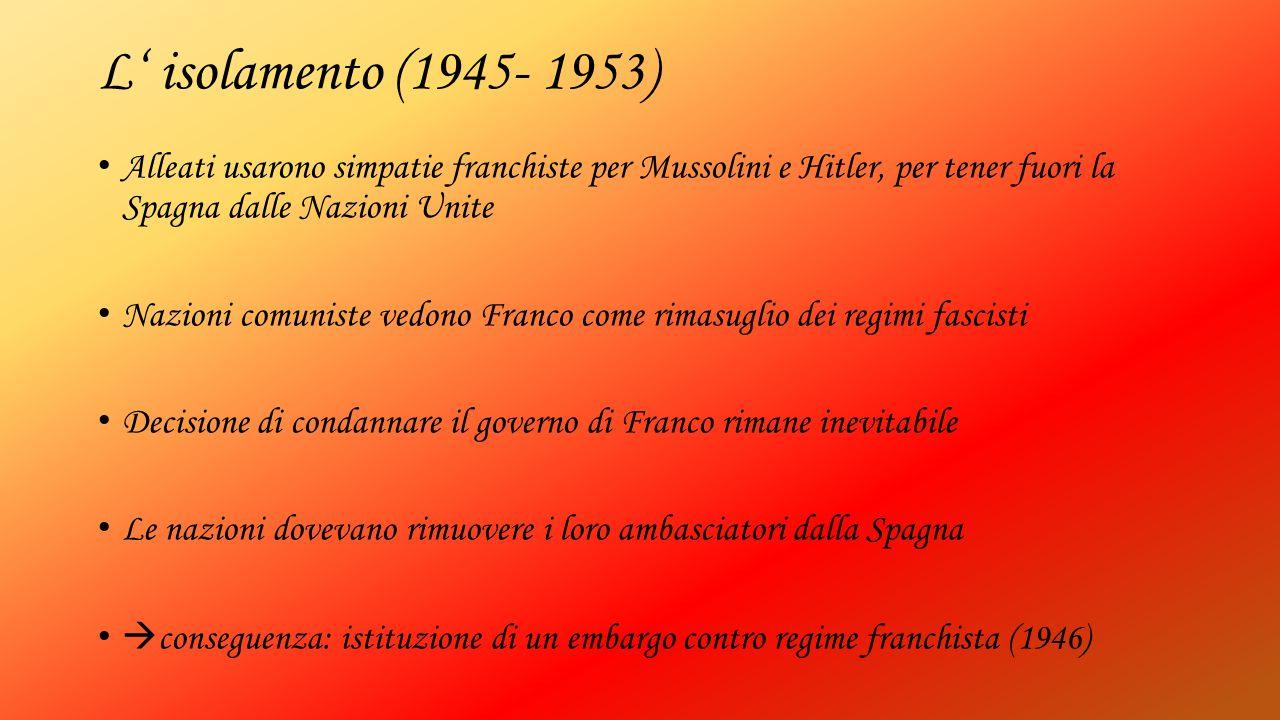 L' isolamento (1945- 1953) Alleati usarono simpatie franchiste per Mussolini e Hitler, per tener fuori la Spagna dalle Nazioni Unite Nazioni comuniste
