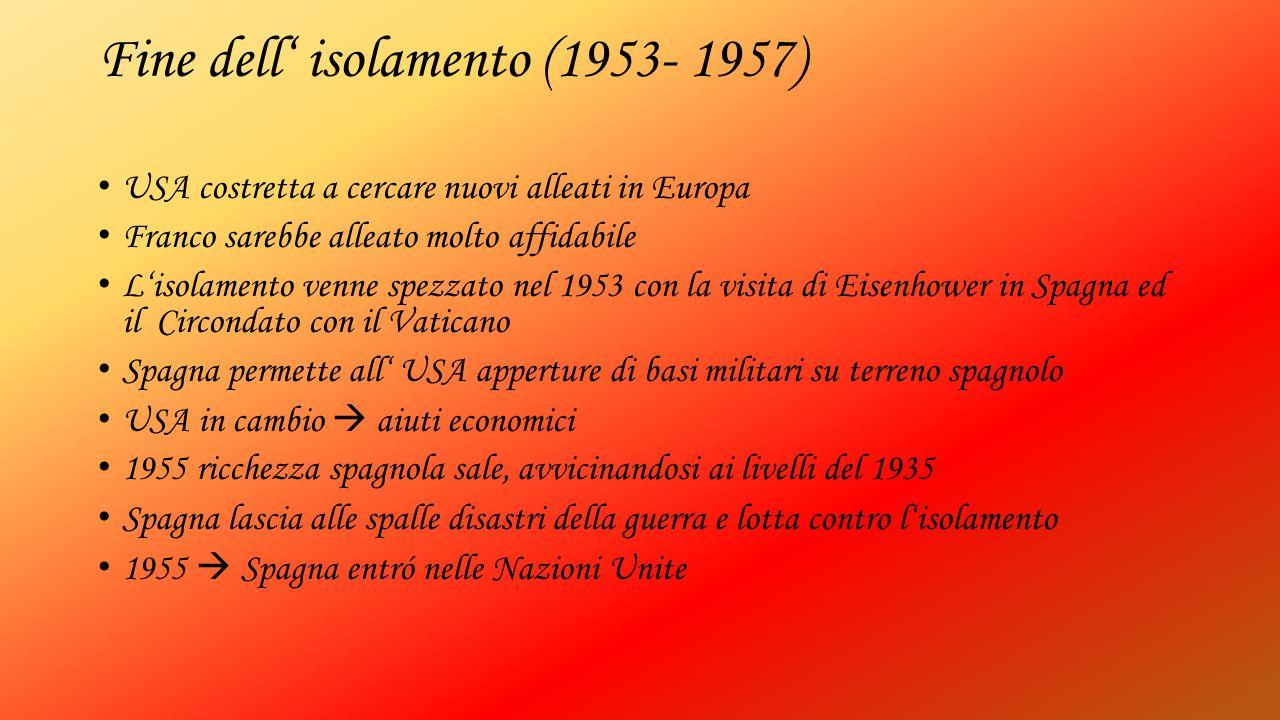 Fine dell' isolamento (1953- 1957) USA costretta a cercare nuovi alleati in Europa Franco sarebbe alleato molto affidabile L'isolamento venne spezzato