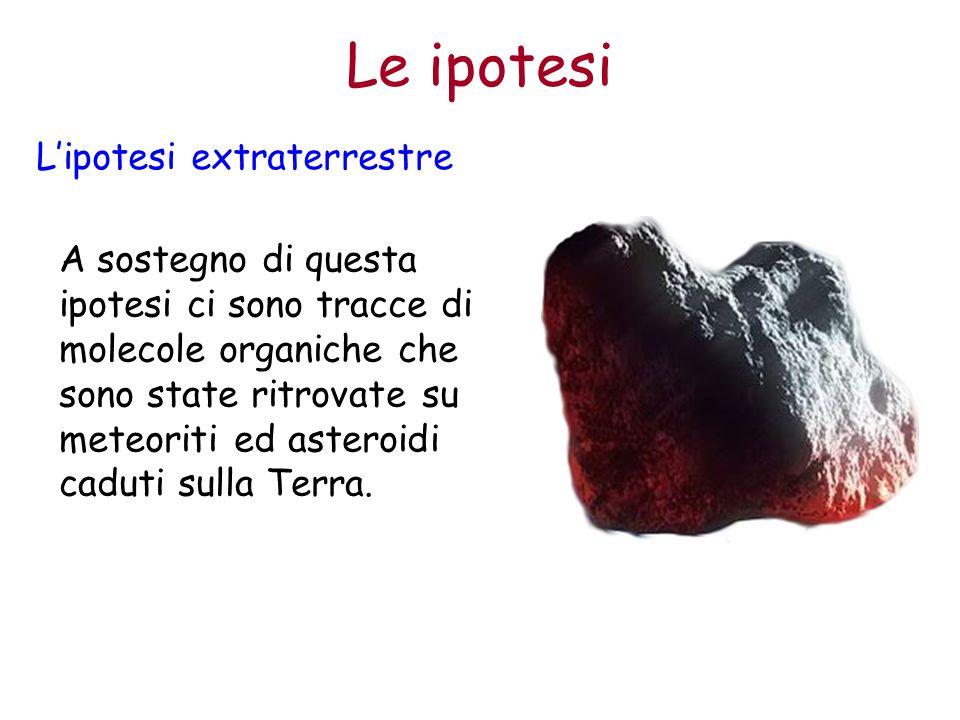 A sostegno di questa ipotesi ci sono tracce di molecole organiche che sono state ritrovate su meteoriti ed asteroidi caduti sulla Terra. L'ipotesi ext