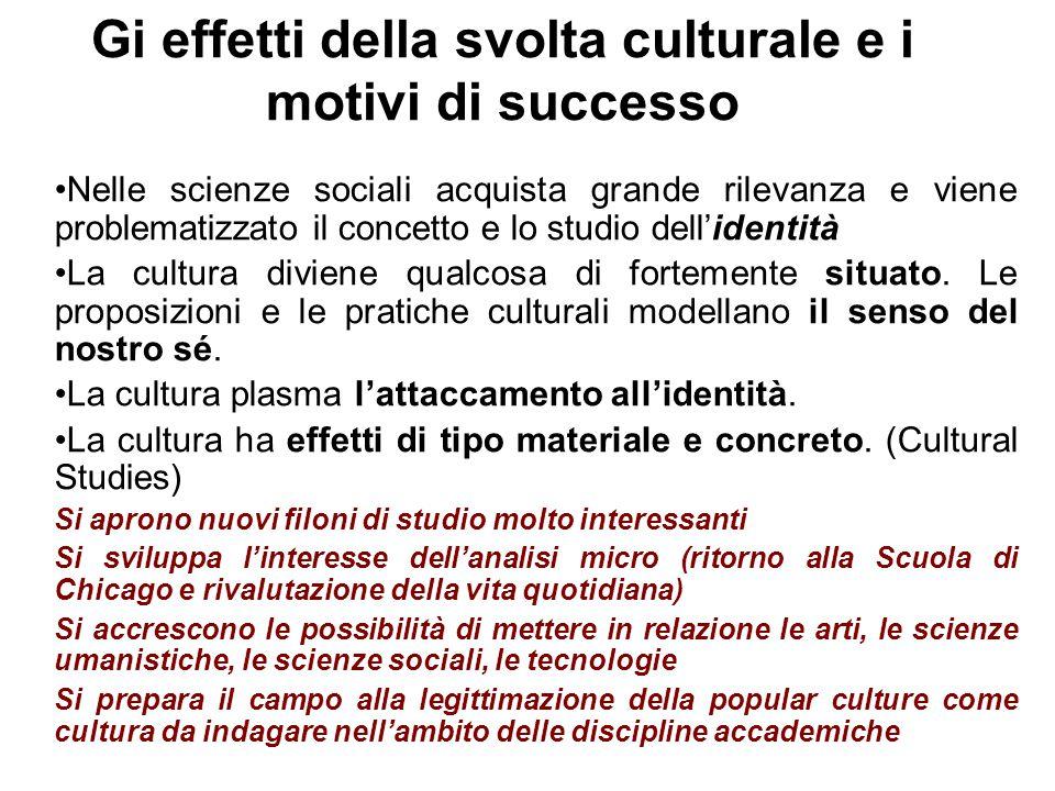 Gi effetti della svolta culturale e i motivi di successo Nelle scienze sociali acquista grande rilevanza e viene problematizzato il concetto e lo studio dell'identità La cultura diviene qualcosa di fortemente situato.