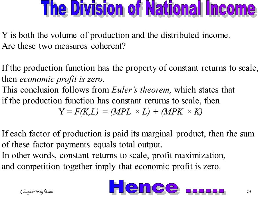 Chapter Eighteen14 Y is both the volume of production and the distributed income. Are these two measures coherent? If the production function has the