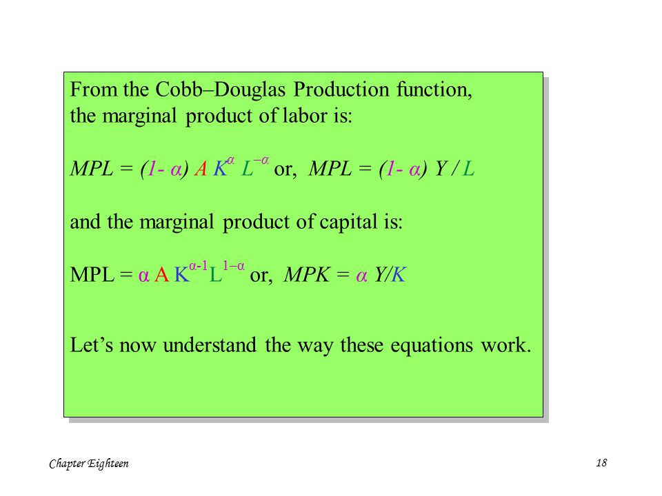 Chapter Eighteen18 From the Cobb–Douglas Production function, the marginal product of labor is: MPL = (1- α) A K α L –α or, MPL = (1- α) Y / L and the marginal product of capital is: MPL = α A K α-1 L 1–α or, MPK = α Y/K Let's now understand the way these equations work.