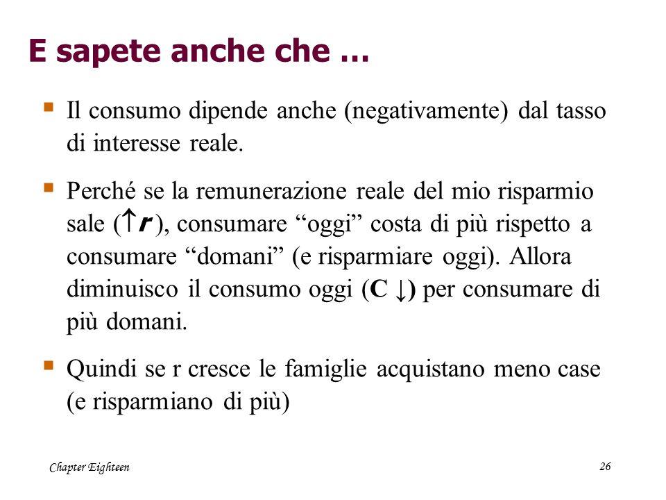 Chapter Eighteen26  Il consumo dipende anche (negativamente) dal tasso di interesse reale.  Perché se la remunerazione reale del mio risparmio sale