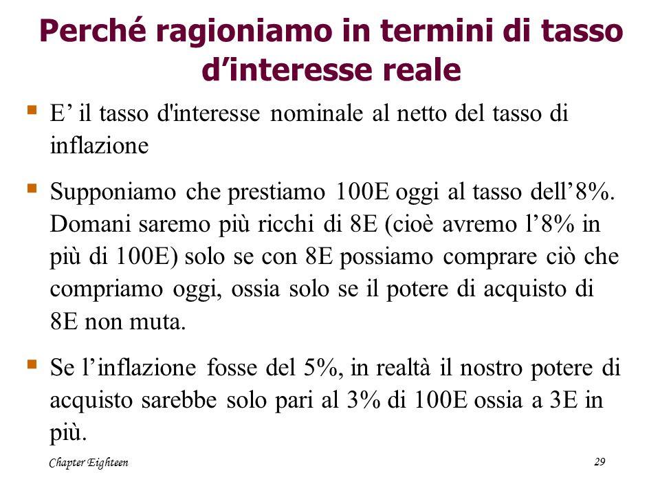 Chapter Eighteen29 Perché ragioniamo in termini di tasso d'interesse reale  E' il tasso d'interesse nominale al netto del tasso di inflazione  Suppo