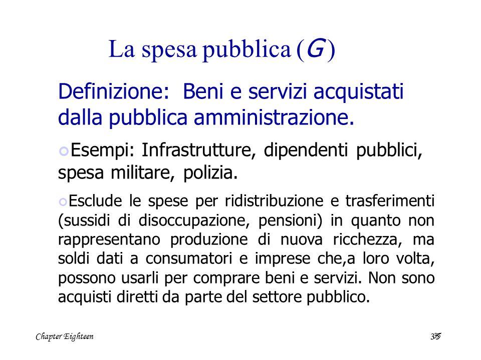 Chapter Eighteen35 La spesa pubblica ( G ) Definizione: Beni e servizi acquistati dalla pubblica amministrazione. Esempi: Infrastrutture, dipendenti p
