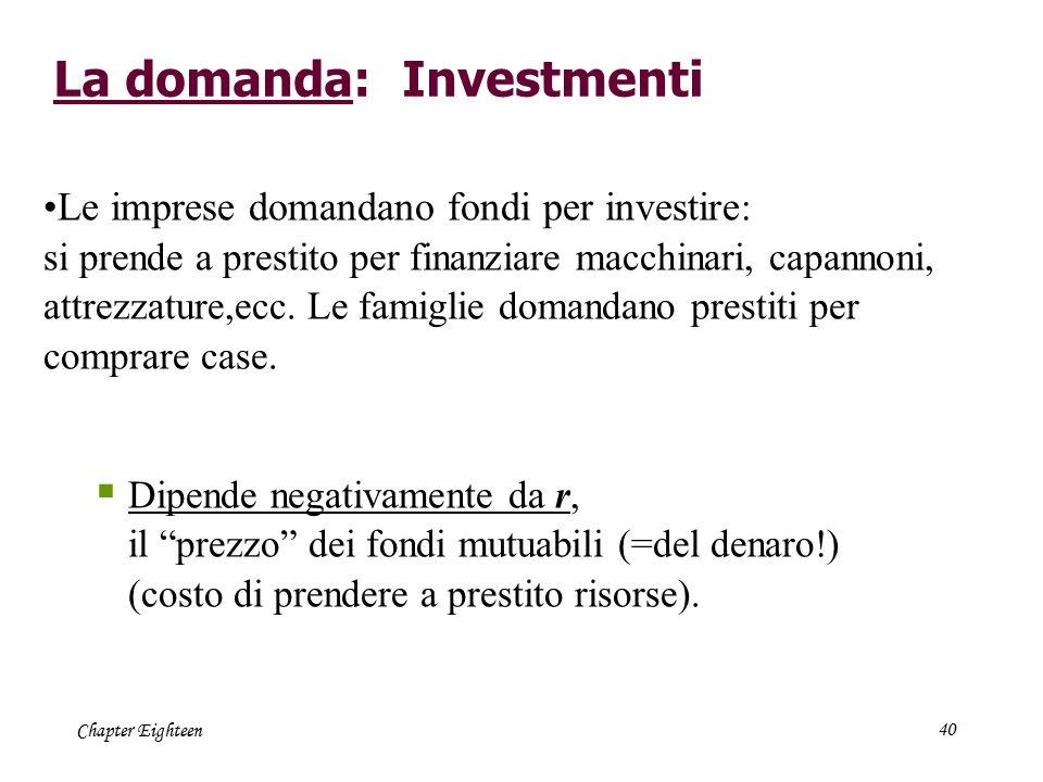 Chapter Eighteen40 La domanda: Investmenti Le imprese domandano fondi per investire : si prende a prestito per finanziare macchinari, capannoni, attre