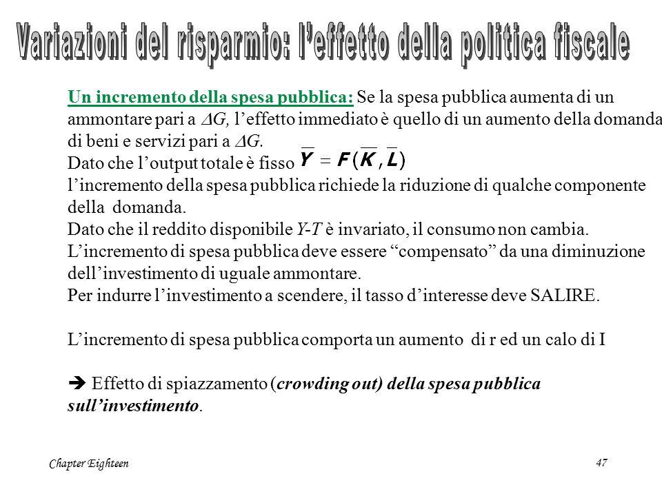 Chapter Eighteen47 Un incremento della spesa pubblica: Se la spesa pubblica aumenta di un ammontare pari a  G, l'effetto immediato è quello di un aum