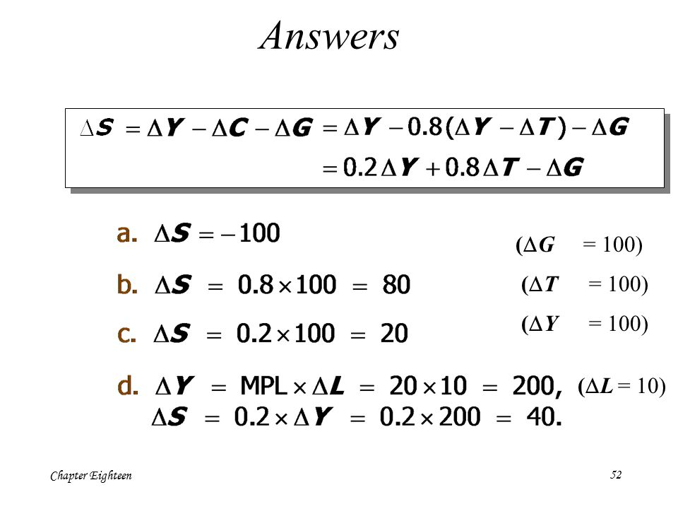 Chapter Eighteen52 Answers (  G = 100) (  T = 100) (  Y = 100) (  L = 10)