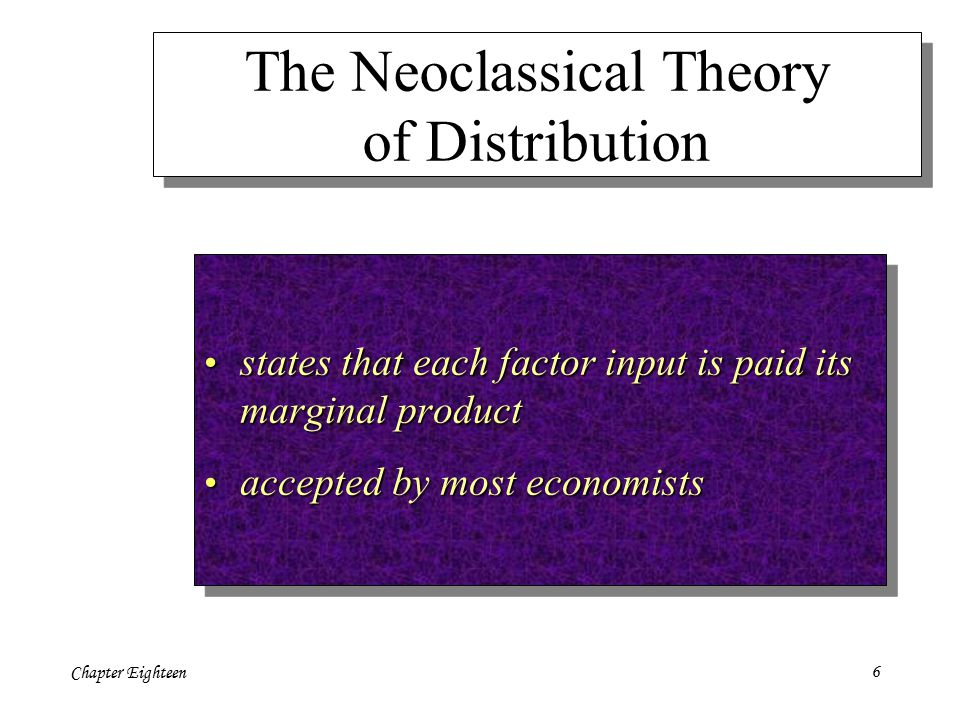 Chapter Eighteen6 The Neoclassical Theory of Distribution states that each factor input is paid its marginal product states that each factor input is paid its marginal product accepted by most economists accepted by most economists states that each factor input is paid its marginal product states that each factor input is paid its marginal product accepted by most economists accepted by most economists