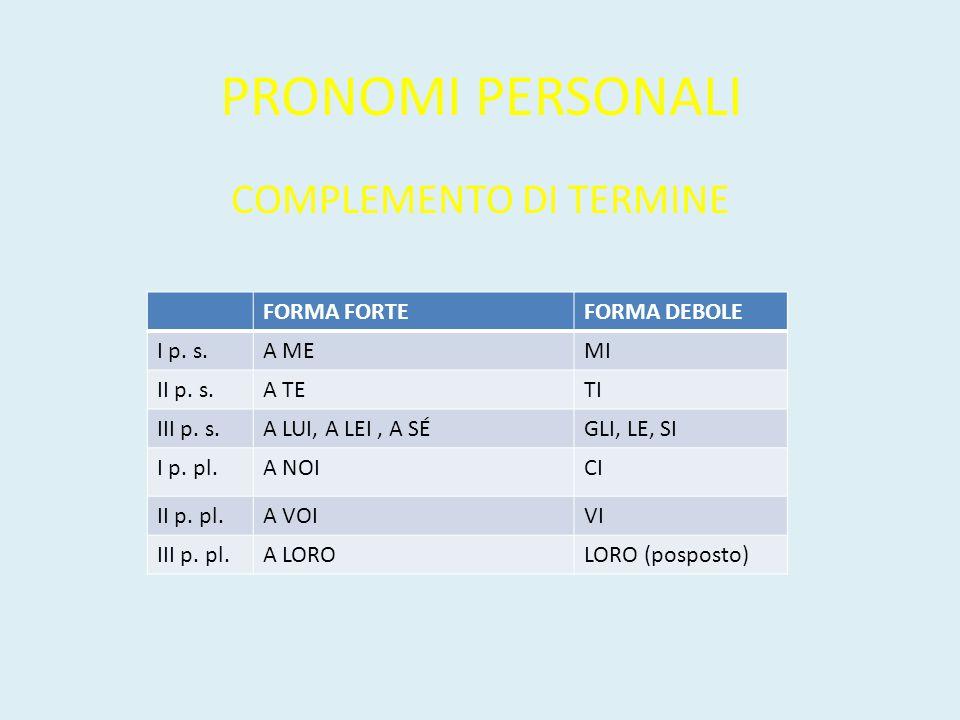 PRONOMI PERSONALI COMPLEMENTO DI TERMINE FORMA FORTEFORMA DEBOLE I p. s.A MEMI II p. s.A TETI III p. s.A LUI, A LEI, A SÉGLI, LE, SI I p. pl.A NOICI I