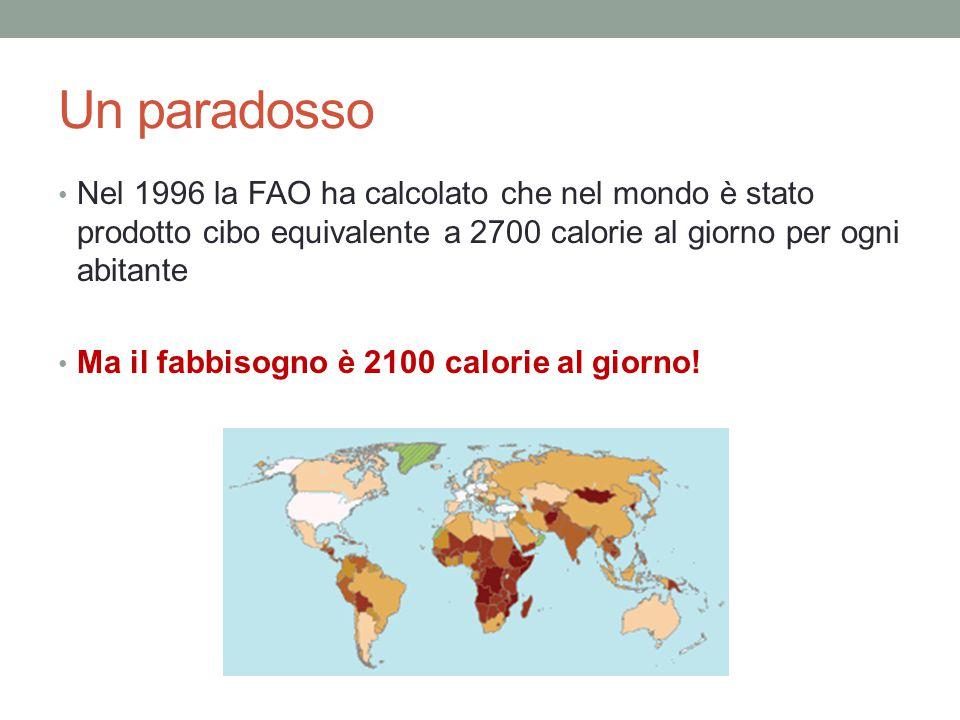Un paradosso Nel 1996 la FAO ha calcolato che nel mondo è stato prodotto cibo equivalente a 2700 calorie al giorno per ogni abitante Ma il fabbisogno