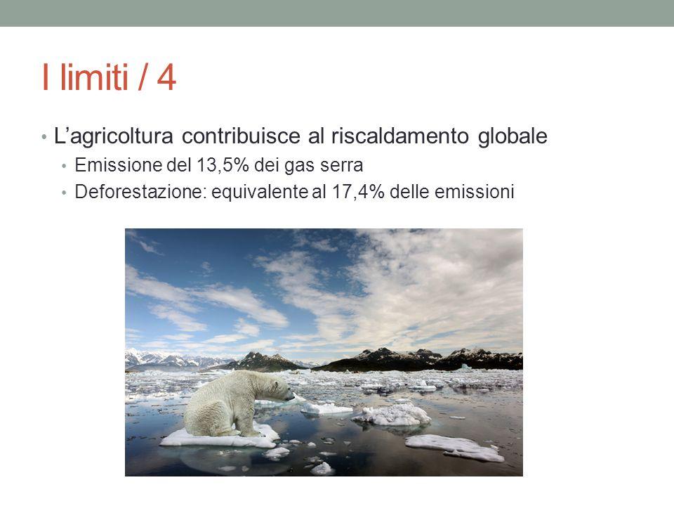 I limiti / 4 L'agricoltura contribuisce al riscaldamento globale Emissione del 13,5% dei gas serra Deforestazione: equivalente al 17,4% delle emission