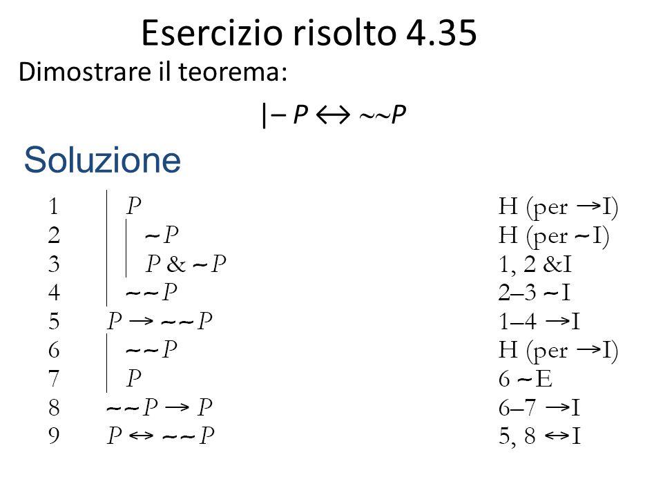Esercizio risolto 4.35 Dimostrare il teorema: |– P ↔  P Soluzione