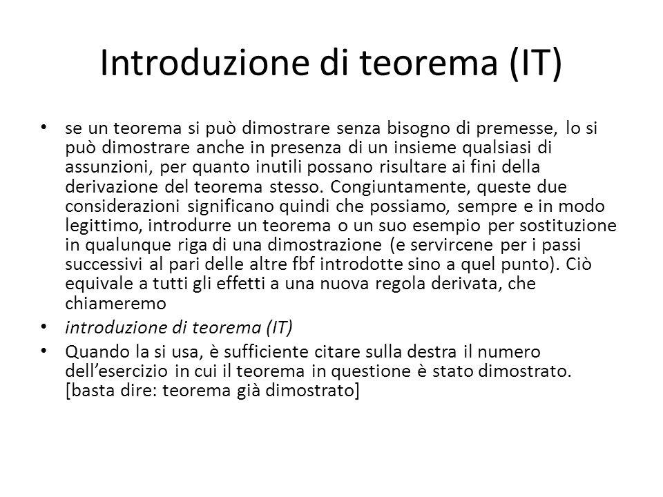 Introduzione di teorema (IT) se un teorema si può dimostrare senza bisogno di premesse, lo si può dimostrare anche in presenza di un insieme qualsiasi di assunzioni, per quanto inutili possano risultare ai fini della derivazione del teorema stesso.