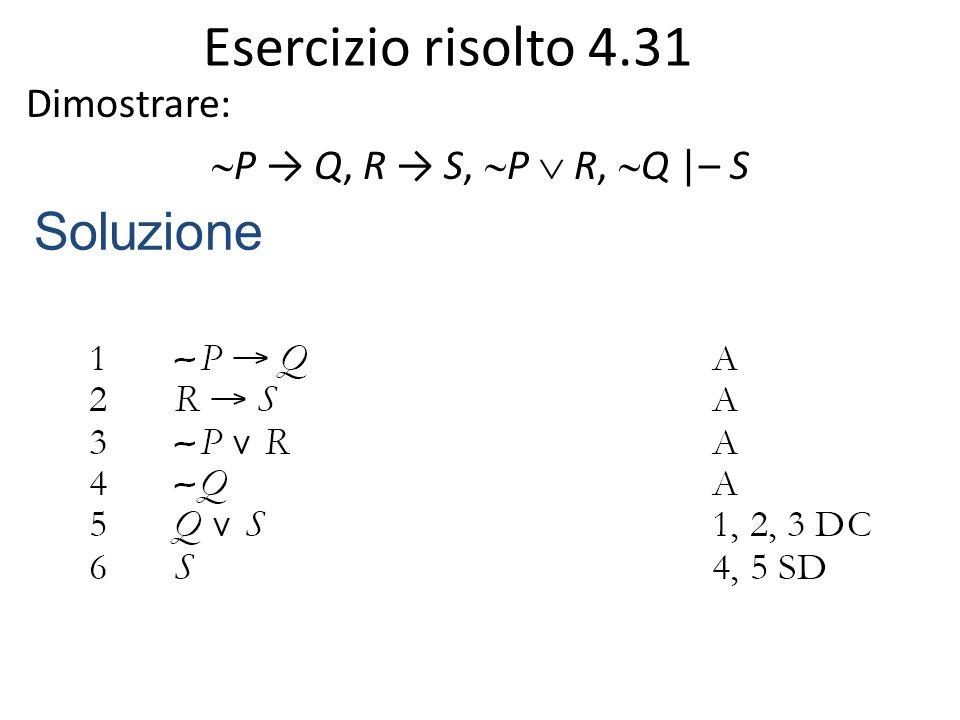 Esercizio risolto 4.31 Dimostrare:  P → Q, R → S,  P  R,  Q |– S Soluzione