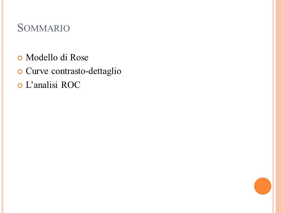 S OMMARIO Modello di Rose Curve contrasto-dettaglio L'analisi ROC