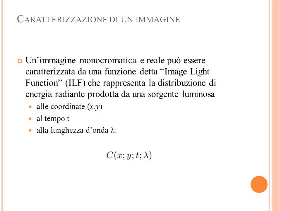 """C ARATTERIZZAZIONE DI UN IMMAGINE Un'immagine monocromatica e reale può essere caratterizzata da una funzione detta """"Image Light Function"""" (ILF) che r"""