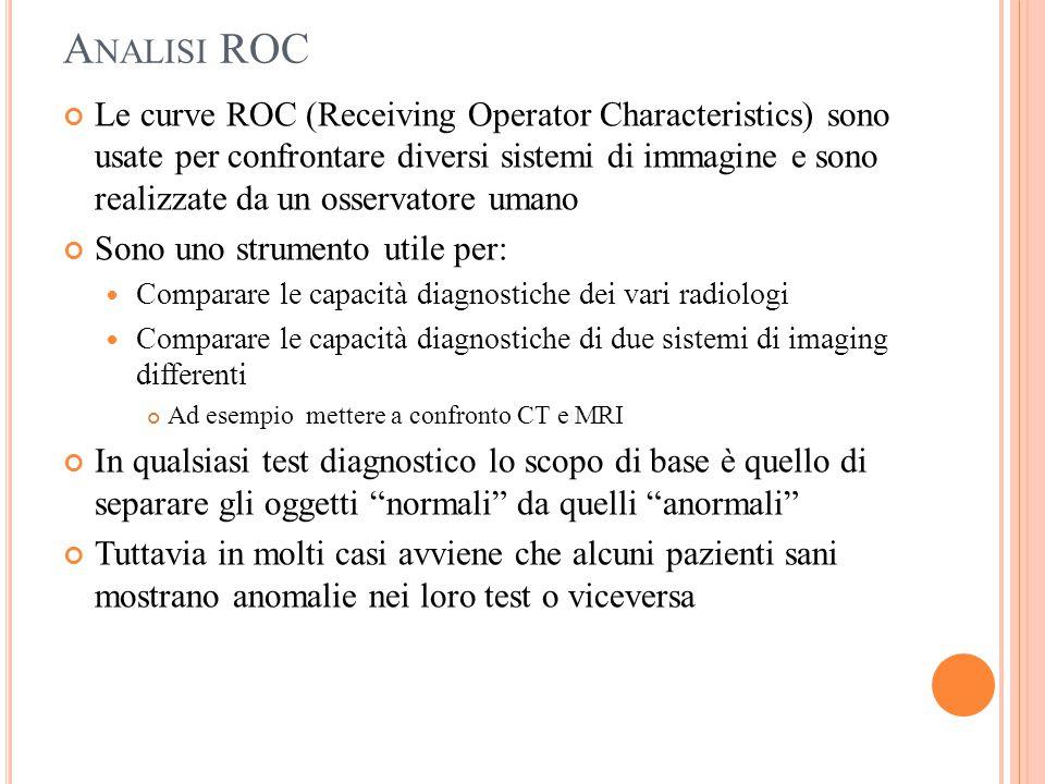 A NALISI ROC Le curve ROC (Receiving Operator Characteristics) sono usate per confrontare diversi sistemi di immagine e sono realizzate da un osservat