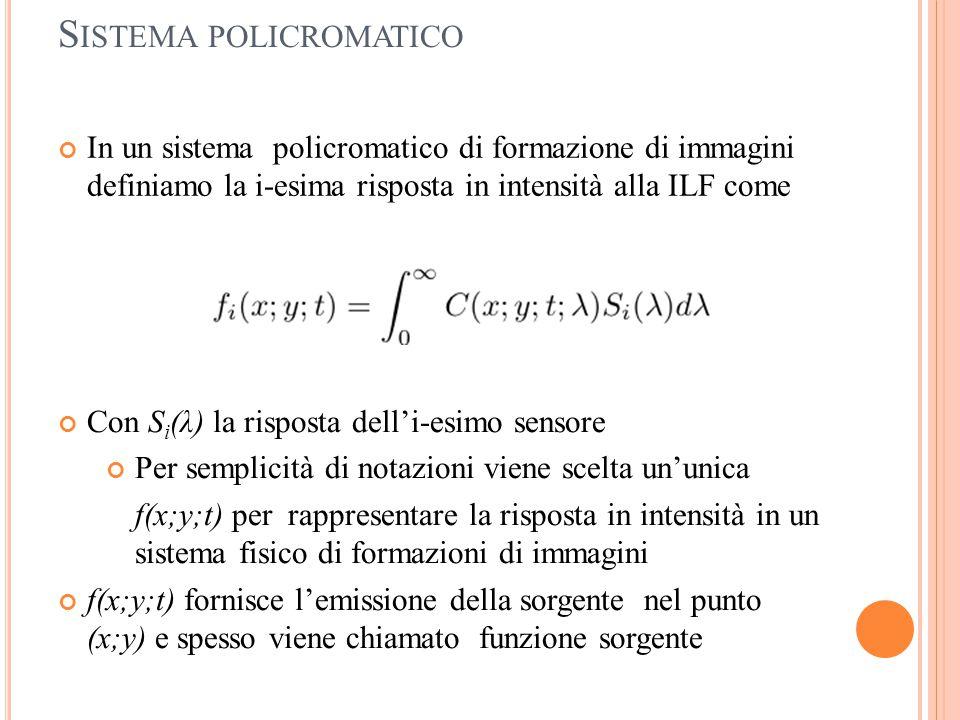 S ISTEMA POLICROMATICO In un sistema policromatico di formazione di immagini definiamo la i-esima risposta in intensità alla ILF come Con S i (λ) la r