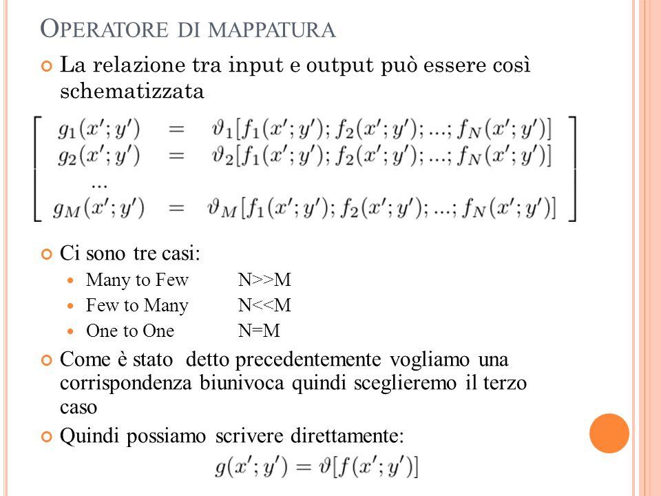 O PERATORE DI MAPPATURA Ci sono tre casi: Many to Few N>>M Few to Many N<<M One to One N=M Come è stato detto precedentemente vogliamo una corrisponde