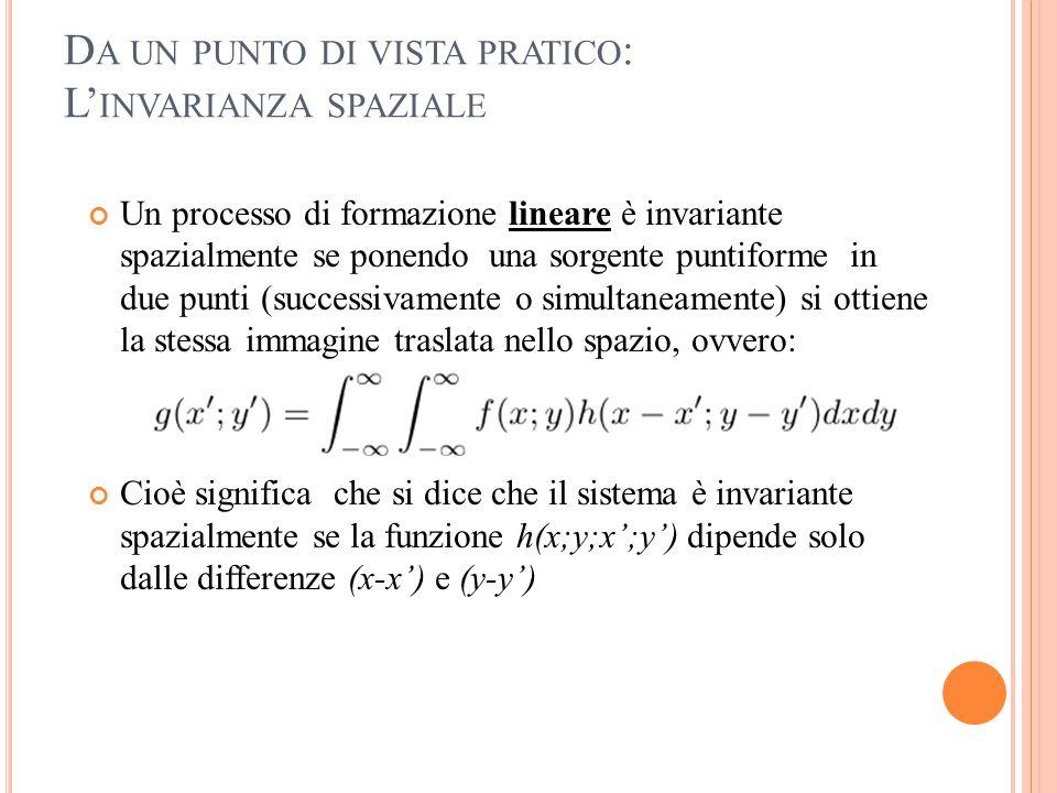 D A UN PUNTO DI VISTA PRATICO : L' INVARIANZA SPAZIALE Un processo di formazione lineare è invariante spazialmente se ponendo una sorgente puntiforme