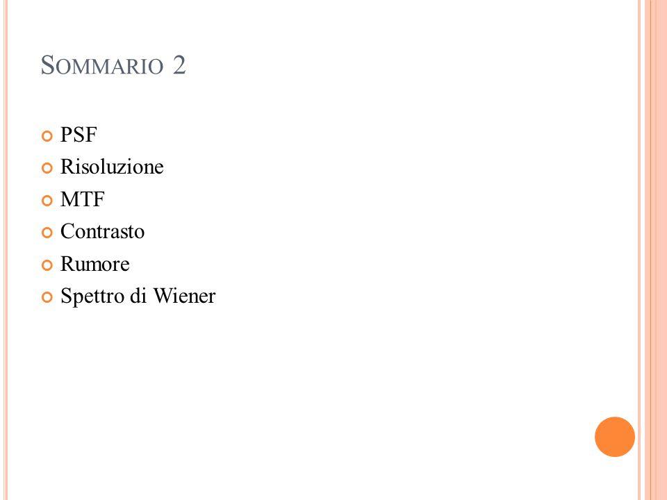 S OMMARIO 2 PSF Risoluzione MTF Contrasto Rumore Spettro di Wiener