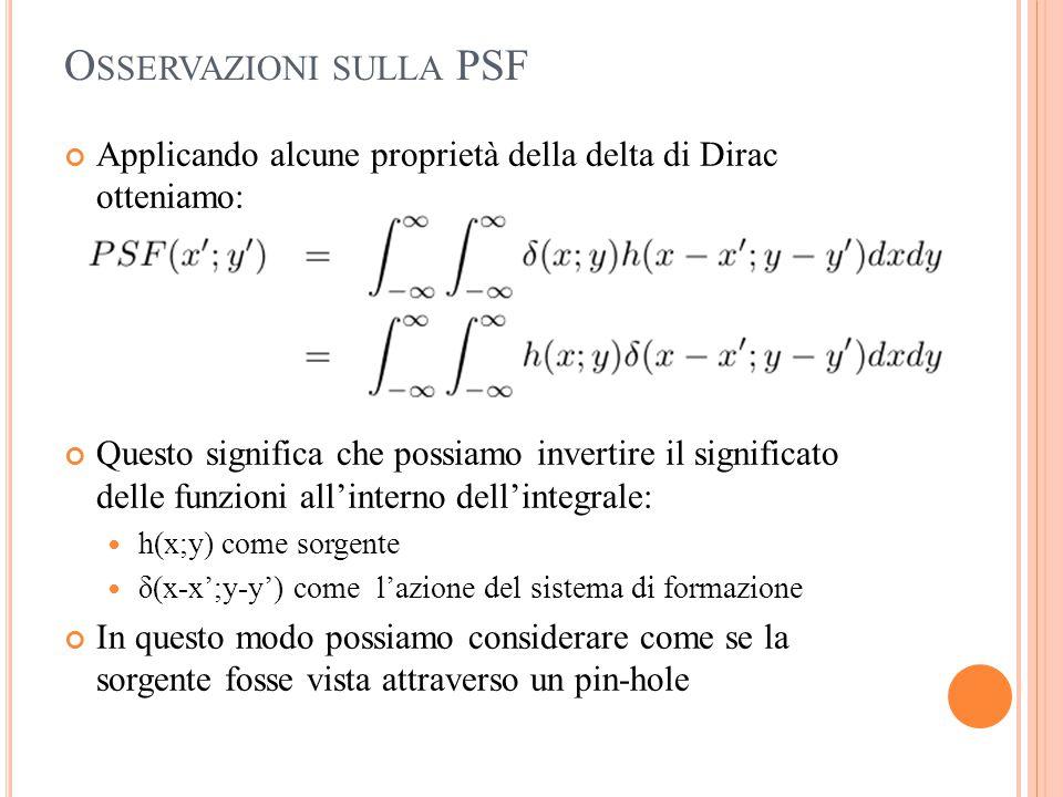 O SSERVAZIONI SULLA PSF Applicando alcune proprietà della delta di Dirac otteniamo: Questo significa che possiamo invertire il significato delle funzi