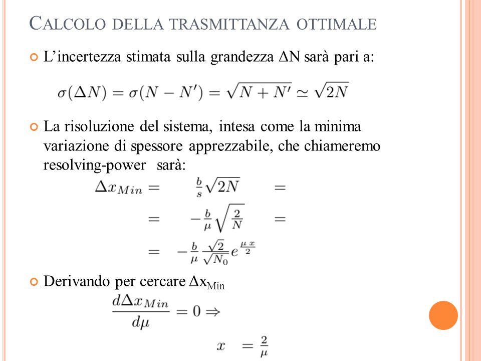 C ALCOLO DELLA TRASMITTANZA OTTIMALE L'incertezza stimata sulla grandezza ΔN sarà pari a: La risoluzione del sistema, intesa come la minima variazione