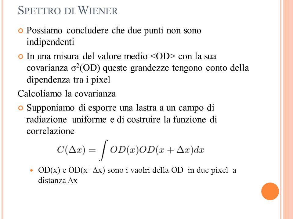 S PETTRO DI W IENER Possiamo concludere che due punti non sono indipendenti In una misura del valore medio con la sua covarianza σ 2 (OD) queste grand
