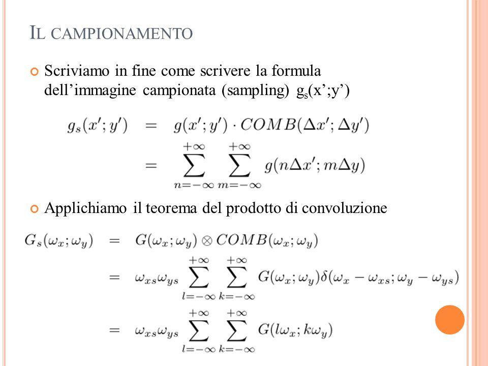 I L CAMPIONAMENTO Scriviamo in fine come scrivere la formula dell'immagine campionata (sampling) g s (x';y') Applichiamo il teorema del prodotto di co