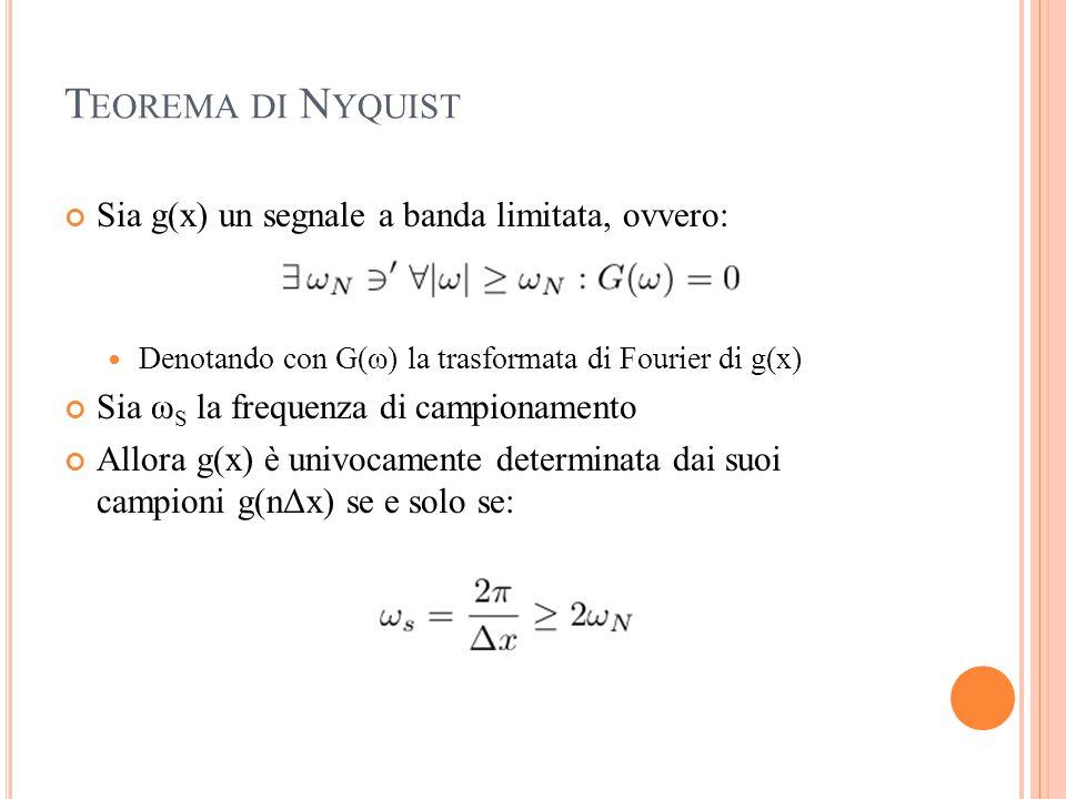 T EOREMA DI N YQUIST Sia g(x) un segnale a banda limitata, ovvero: Denotando con G(ω) la trasformata di Fourier di g(x) Sia ω S la frequenza di campio
