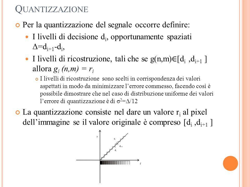 Q UANTIZZAZIONE Per la quantizzazione del segnale occorre definire: I livelli di decisione d i, opportunamente spaziati Δ=d i+1 -d i, I livelli di ric