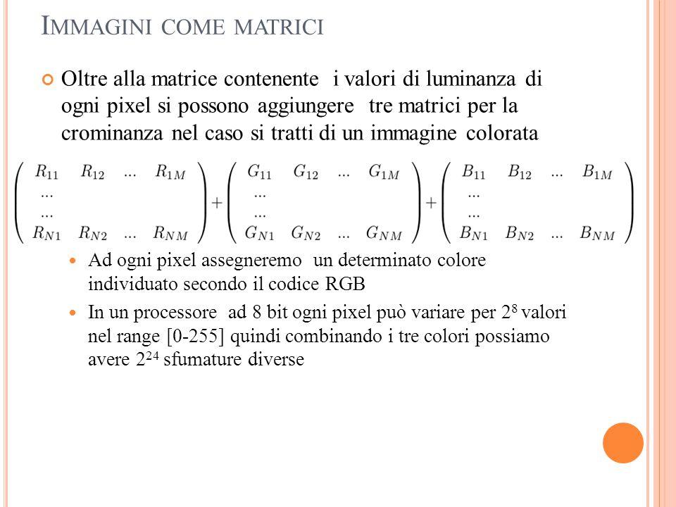 I MMAGINI COME MATRICI Oltre alla matrice contenente i valori di luminanza di ogni pixel si possono aggiungere tre matrici per la crominanza nel caso